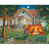 Bits and Pieces - 300 Large Piece Jigsaw Puzzle for Adults - Backyard Camping - Family Fun House Puzzle - by Artist Christine Carey - 300 pc Jigsaw