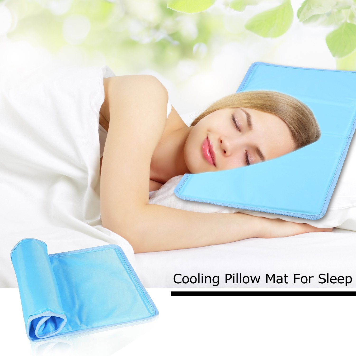 Kingstar Cool Pillow Gel Mat, 11 x 22'' Odorless Cooling Chilly Pad Soft Gel Cool Pillow Mats No Water Leaking for Reduces Migraines Hot Flashes and Fevers