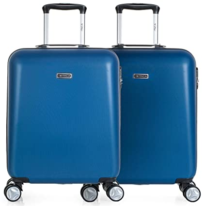 ITACA - Pack 2 Maletas de Viaje Rígidas 4 Ruedas 55x40x20 cm Cabina Trolley ABS. Equipaje de Mano. Resistentes y Ligeras. Mango Asa Candado. Low Cost ...