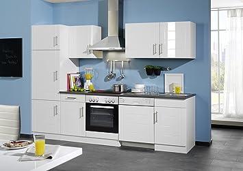 Held Möbel 658.6033 Küchenzeile 280 in Hochglanz-weiß / anthrazit ...