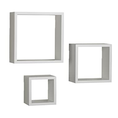 MELANNCO Floating Wall Mount Square Cube Shelves Set of 3 White
