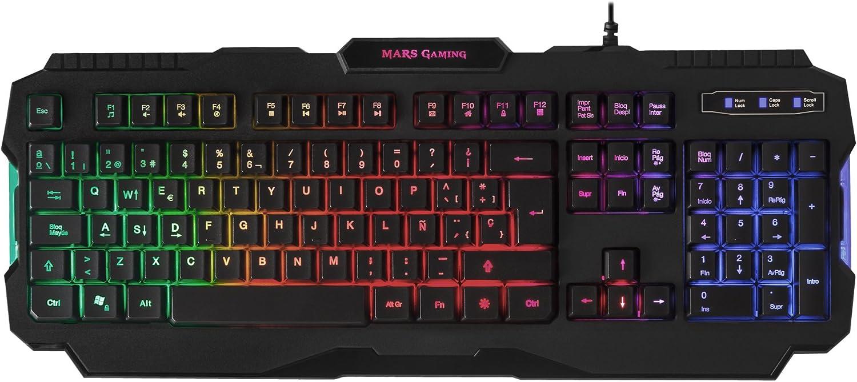 MARSGAMING Mars Gaming MRK0, Teclado Gaming PC, RGB Rainbow, 3 Modos iluminación,15 Funciones