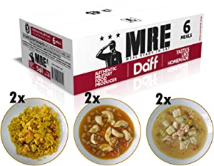 MRE Meals Military Style by DAFF. Mix Box(2 Pasta, 2 Paella, 2 Salmon Stew) (6 Single Meals). Full MRE Meal Ideal for Camping, Hiking, Survival, Prepping and as Emergency Food. [1000 Calories/Bag]