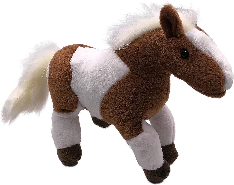 Onwomania Peluche Peluche Cavallo Animale Marrone Bianco in Piedi Occidentale 26 cm