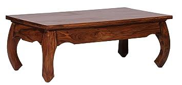 WOHNLING Couchtisch Massiv Holz Sheesham 110 Cm Breit Wohnzimmer Tisch Design Dunkel