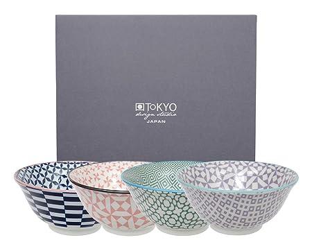 Tokyo Design Studio, Geometric Eclectic, 4 bowl Set, 4 pcs, Ø 15,0 cm, made  in Japan