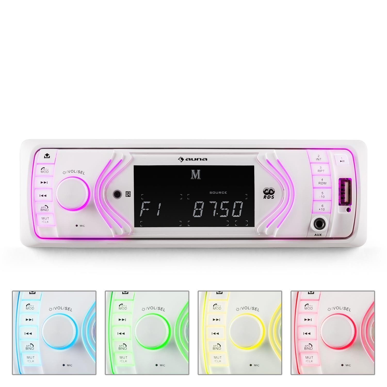 auna MD-130 • Autoradio • Radio mit Freisprecheinrichtung • 4x75 Watt max. Leistung • Bluetooth • 2-Band-Equalizer • USB • SD • AUX • UKW Radio • RDS • LCD-Display • Fernbedienung • schwarz