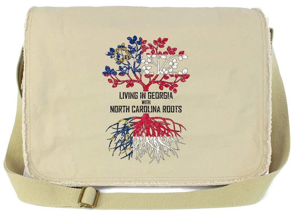 Tenacitee Living In Georgia with North Carolina Roots Grey Brushed Canvas Messenger Bag