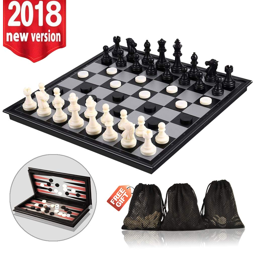 3-in-1 Chess Set - Travel Chess Set Magnetic Chess & Checkers & Backgammon Folding Chess Board Game, Portable Checkers with 3 Mesh Bags, Best Chess Games Gift for Kids and Adults 12.4 Inches