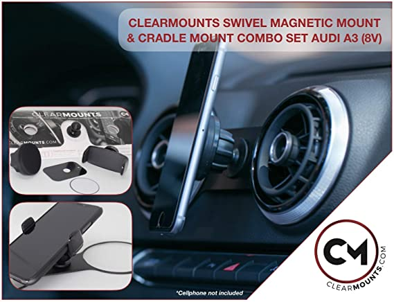 Clearmounts Audi Phone Holder - Magnetic & Cradle Mount for Audi A3, S3,  RS3, E-Tron (8V) 2013-2020