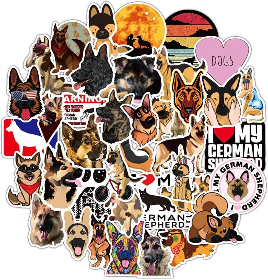 Funny Aesthetic Waterproof Animals Vinyl Stickers of German Shepherd,Trendy Decals Stickers Pack for Girls Kids Teens Boys Toddler,50 Pcs Dog Stickers for Laptop Computer Waterbottle Flasks Bike Car.