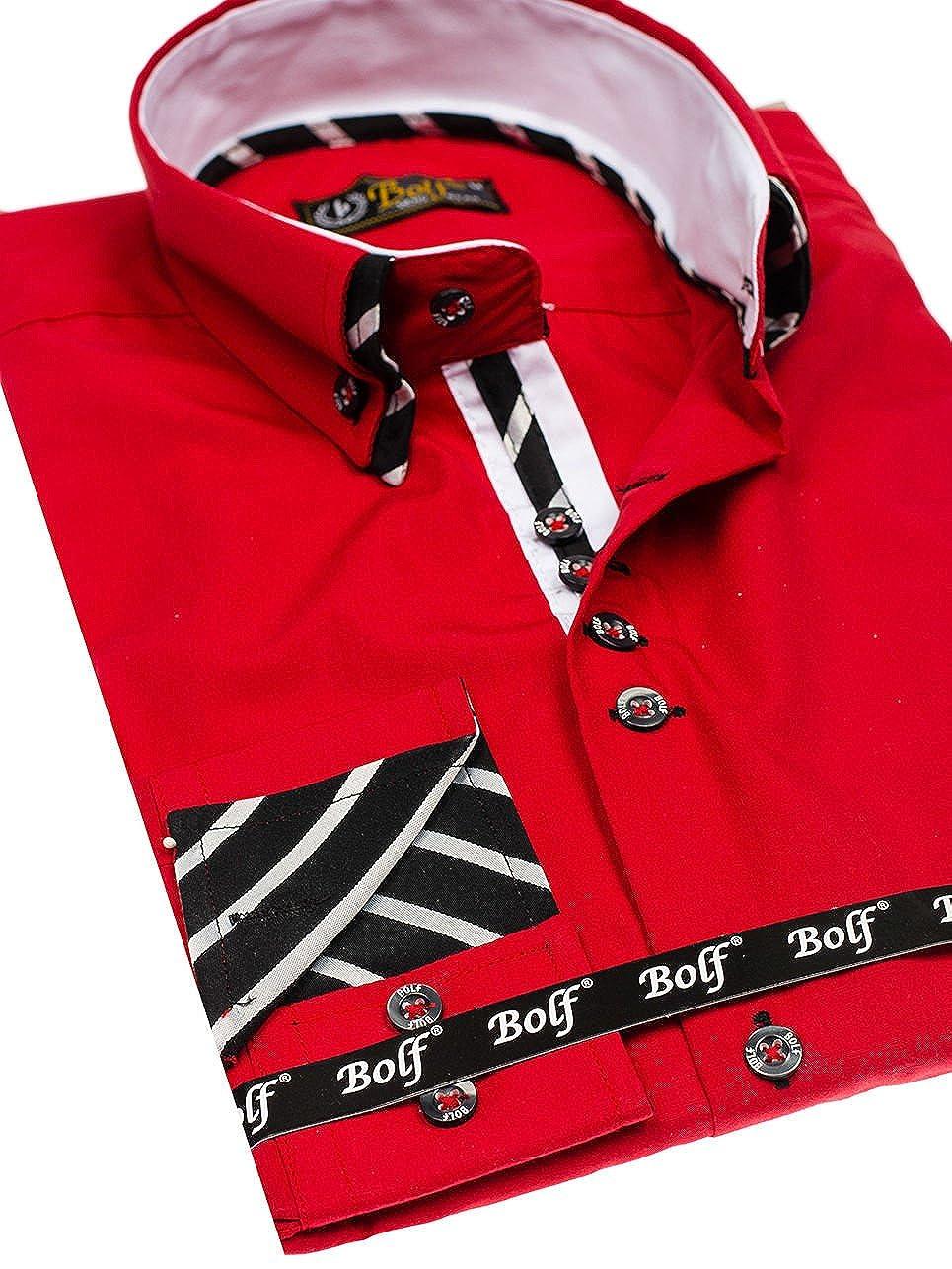 BOLF - Camisa Casual - con Botones - Manga Larga - para Hombre ...