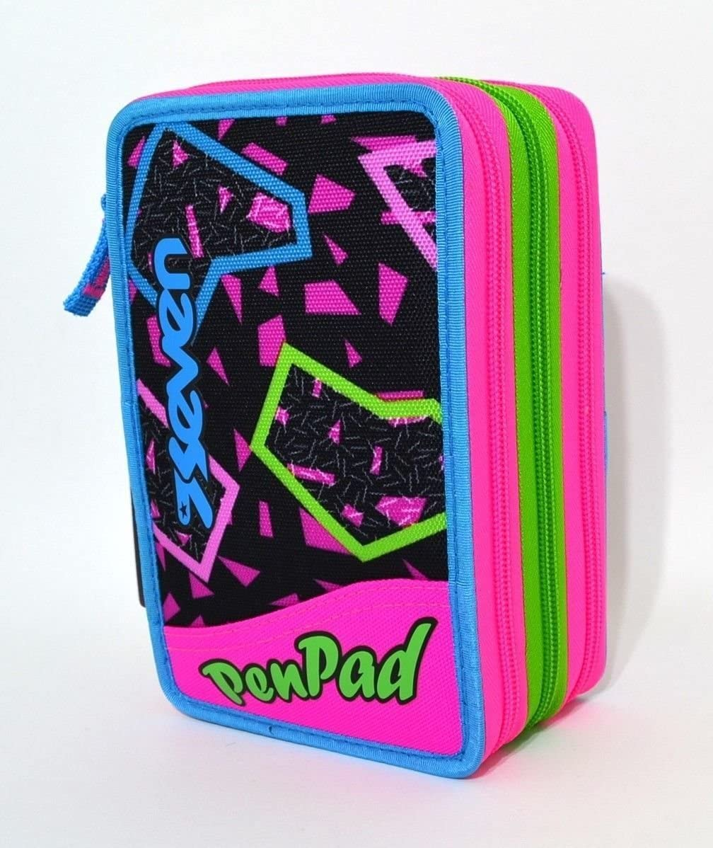 Estuche Escolar Triple 3 bisagras Seven Pen Pad Girl: Amazon.es: Oficina y papelería