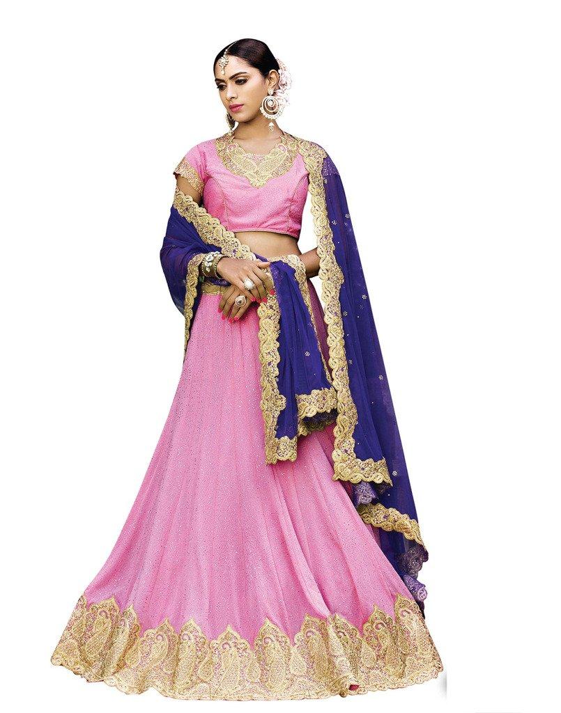 DesiButik's Wedding Wear Ravishing Pink Lycra Glitter Lehenga