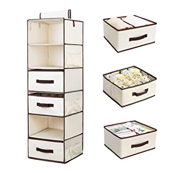 Superior StorageWorks Hanging Closet Organizer With 2 Drawers U0026 2 Dividers U0026 1  Underwear Drawer, Foldable