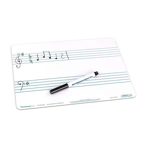 Chamberlain Music WB05, pizarra blanca A4 para música con dos pentagramas pre impresos