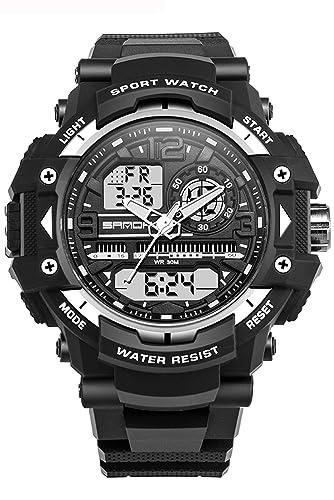 Reloj deportivo analógico digital para hombre con cronógrafo de cara grande y negro, resistente al agua: Amazon.es: Relojes