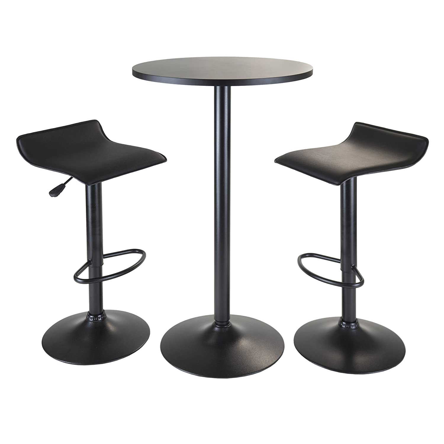 Amazon.com Winsome Obsidian 3-Piece Pub Set with Round Table and 2-Airlift Stools Black Kitchen \u0026 Dining  sc 1 st  Amazon.com & Amazon.com: Winsome Obsidian 3-Piece Pub Set with Round Table and 2 ...