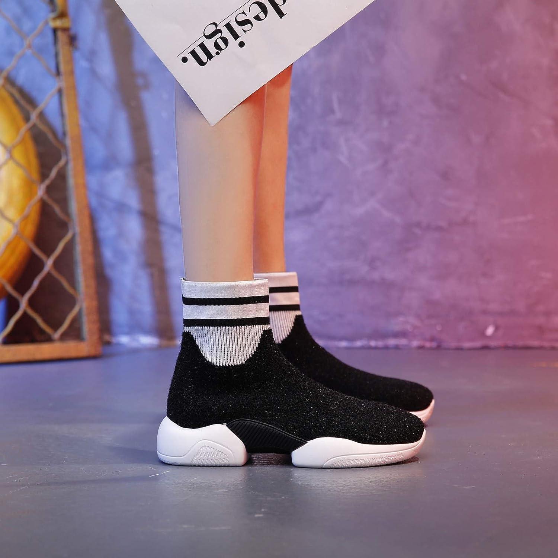 Lucdespo Lucdespo Lucdespo Ladies Casual Zapatos Calzado Deportivo Calcetines de Punto Calcetines elásticos Botas Otoño Botas.Black, 37 2af84e