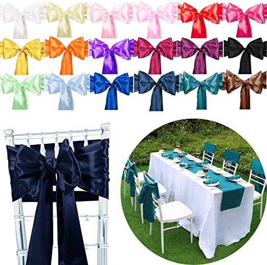 Time to Sparkle 50PCS 18 * 275cm Long Satin Chair Cover Sashes Bow Satin Back Tie Ribbon Table Runner Wedding Reception Banquet Decoration (Navy Blue)