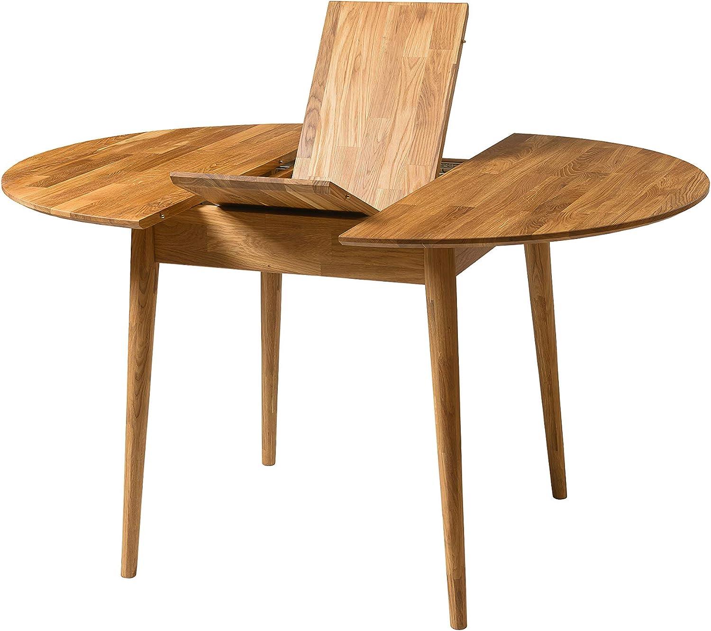 NORDICSTORY Escandi 3 Mesa de Comedor Nordica Extensible Redonda 100-130 cm, Madera Maciza Roble, Ideal para Cocina Salon Terraza, Muebles Diseño Estilo Nordico Color (Roble Natural)