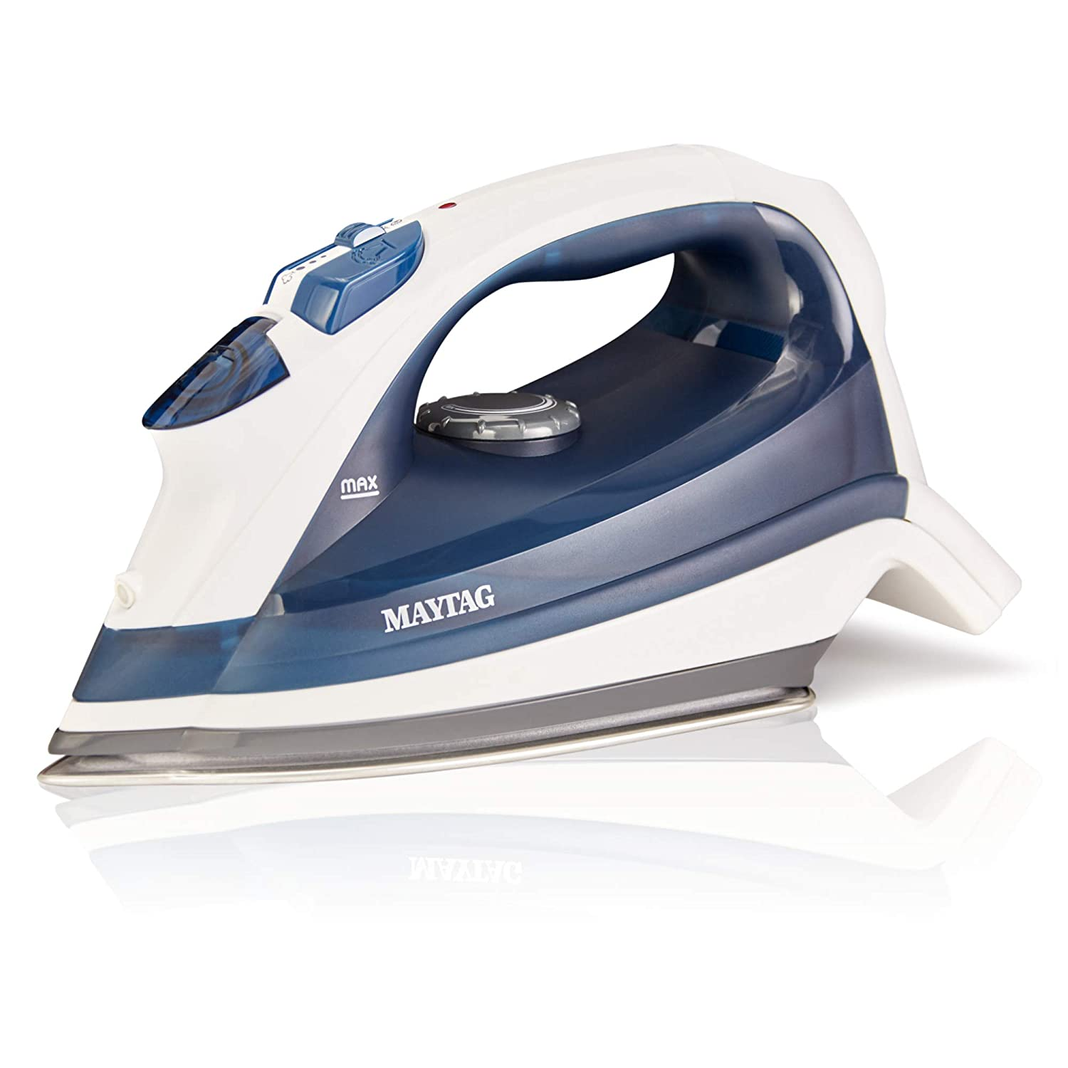 Maytag Speed Heat Steam Iron & Vertical Steamer with Stainless Steel Sole Plate, Self Cleaning Function + Thermostat Dial M200 Blue