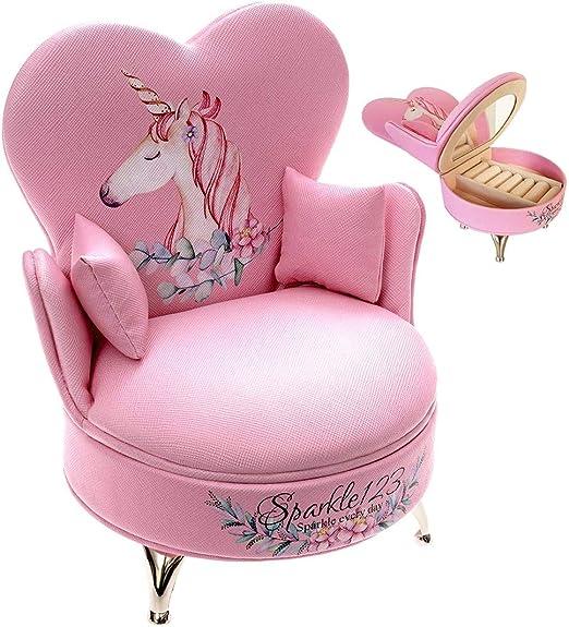 Amazon.com: Sparkle123 Caja de joyería de unicornio rosa ...