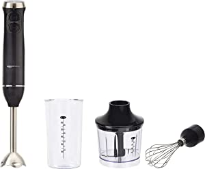 AmazonBasics Multi-Speed Immersion Hand Blender with Attachments, Black (Renewed)
