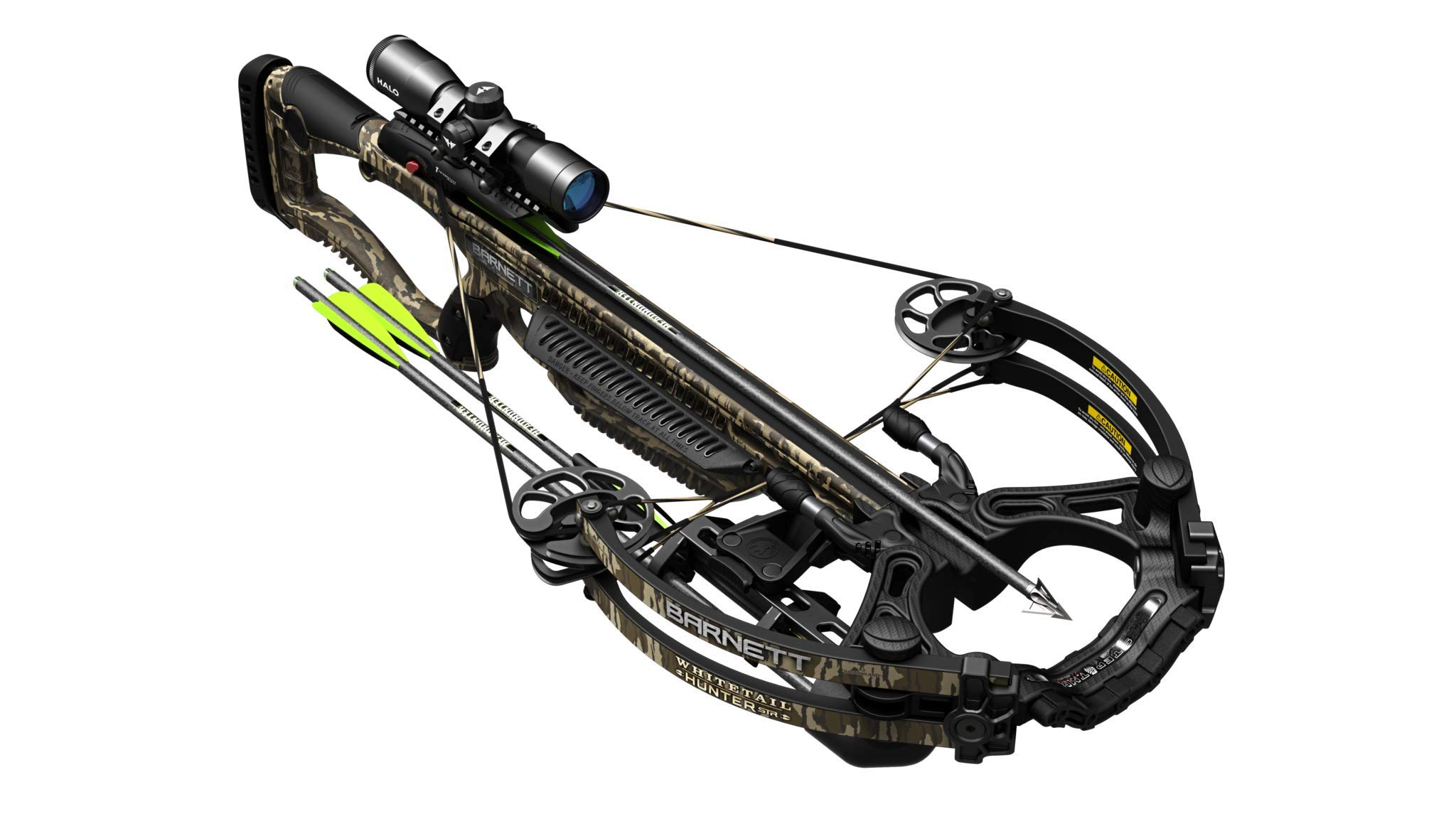 Barnett Whitetail Hunter STR Crossbow in Mossy Oak Bottomland, Shoots 375 Feet Per Second; Includes 4X32 Scope, 2 22'' Arrows, Quiver, and Rope Cocking Device by Barnett
