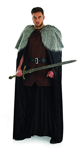 Faux Fur Trimmed Cape Medieval Game Thrones Halloween Adult Costume Accessory Kleidung & Accessoires
