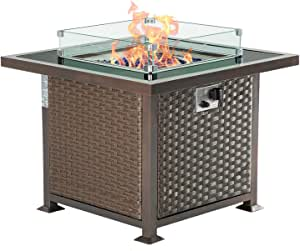 U-MAX 32in Outdoor Propane Gas Fire Pit Table, 50,000 BTU Auto-Ignition Gas Firepit with Glass Wind Guard, Black Tempered Glass Tabletop & Blue Glass Stone, Aluminum Frame&PE Rattan, CSA Certification