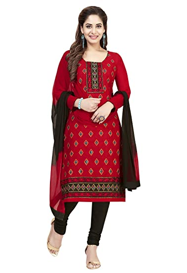 2000af874a Ishin Cotton Red & Black Embroidered Women's Unstitched Salwar Suit Dress  Material With Chiffon Dupatta: Amazon.in: Clothing & Accessories