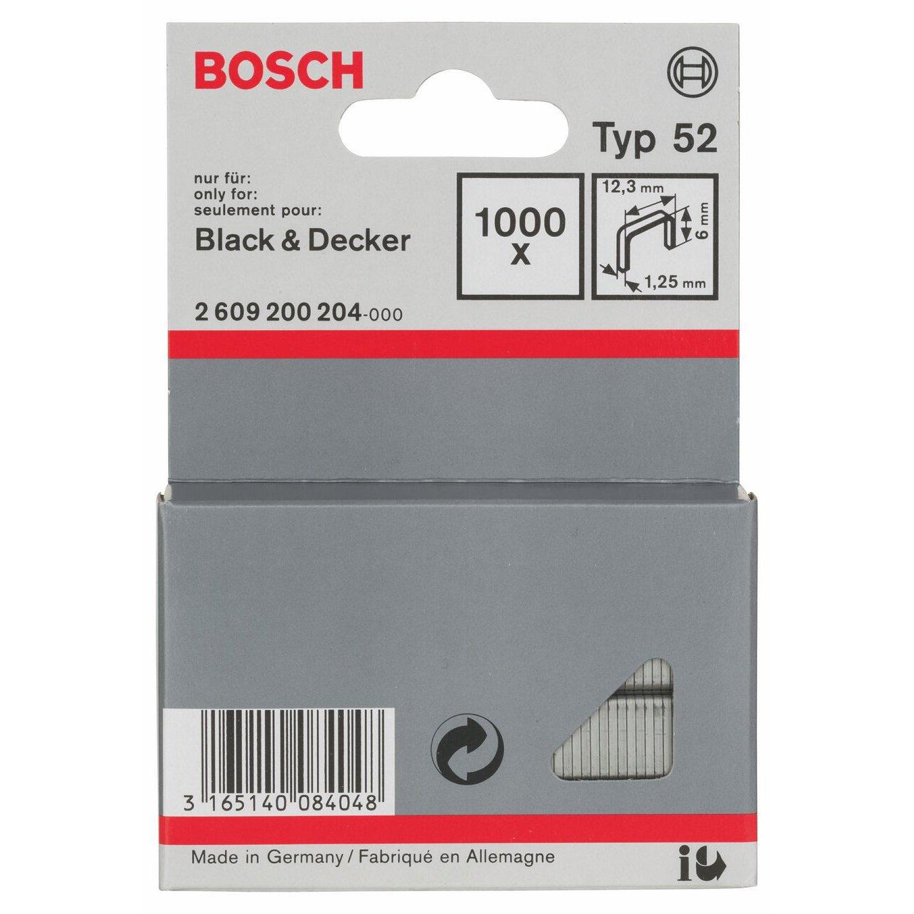 Bosch Professional 2609200205 1000 Tackerkla mmern 8//12,3  mm Typ52