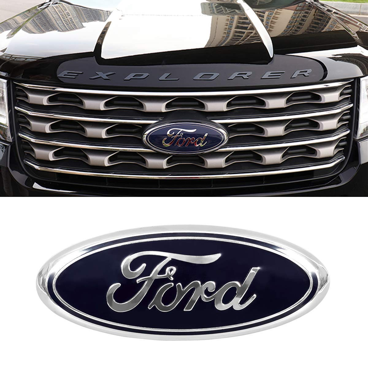 ORFORD Grille Emblem for Ford Replacement for Front Grille Emblem Badge Ford F150 Black Badge Emblem for Ford 2005-2014