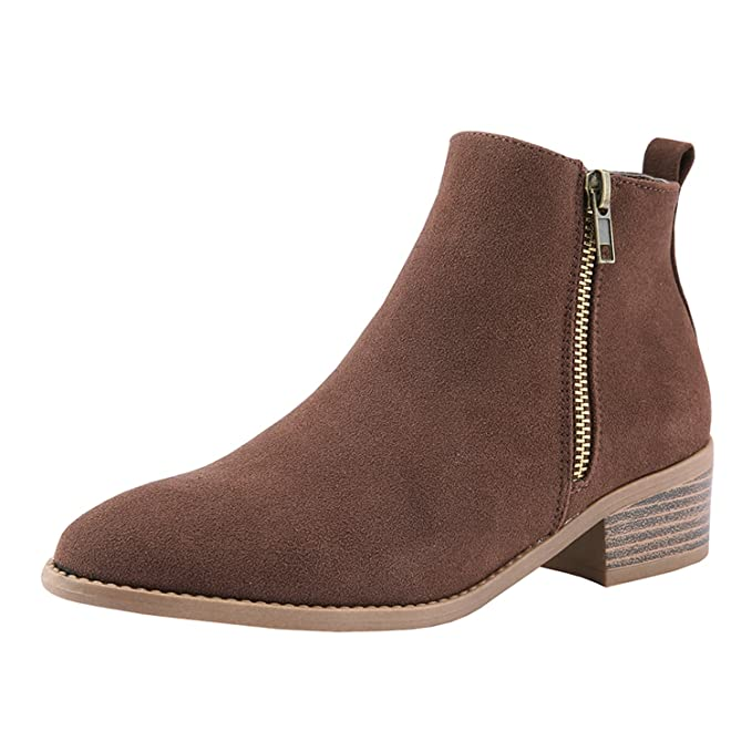 a8c743029f0 Ferbia Womens Pointed Toe Boots Stacked Low Block Heel Ankle Bootie Zip Up  Shoes