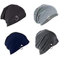 FashMade Ring Beanie Unisex Cap Combo of 4 for All The Seasons caps/Beanie/Slouch/Skullcap/fitcap Pack of Four Black Navy Darkgrey Grey Color