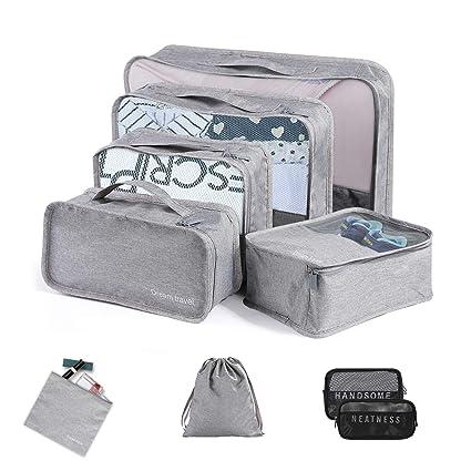 Organizador de Viaje Organizadores para Maletas, Fityou 9 Set Impermeable Duraderos Cubos de Embalaje de Viaje Ligero con Bolsa de Ropa, Zapato, ...
