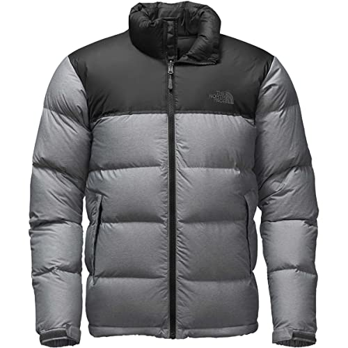3538ded543 The North Face Nuptse Jacket - Mens color  TNF MEDIUM GREY HEATHER TNF BLACK