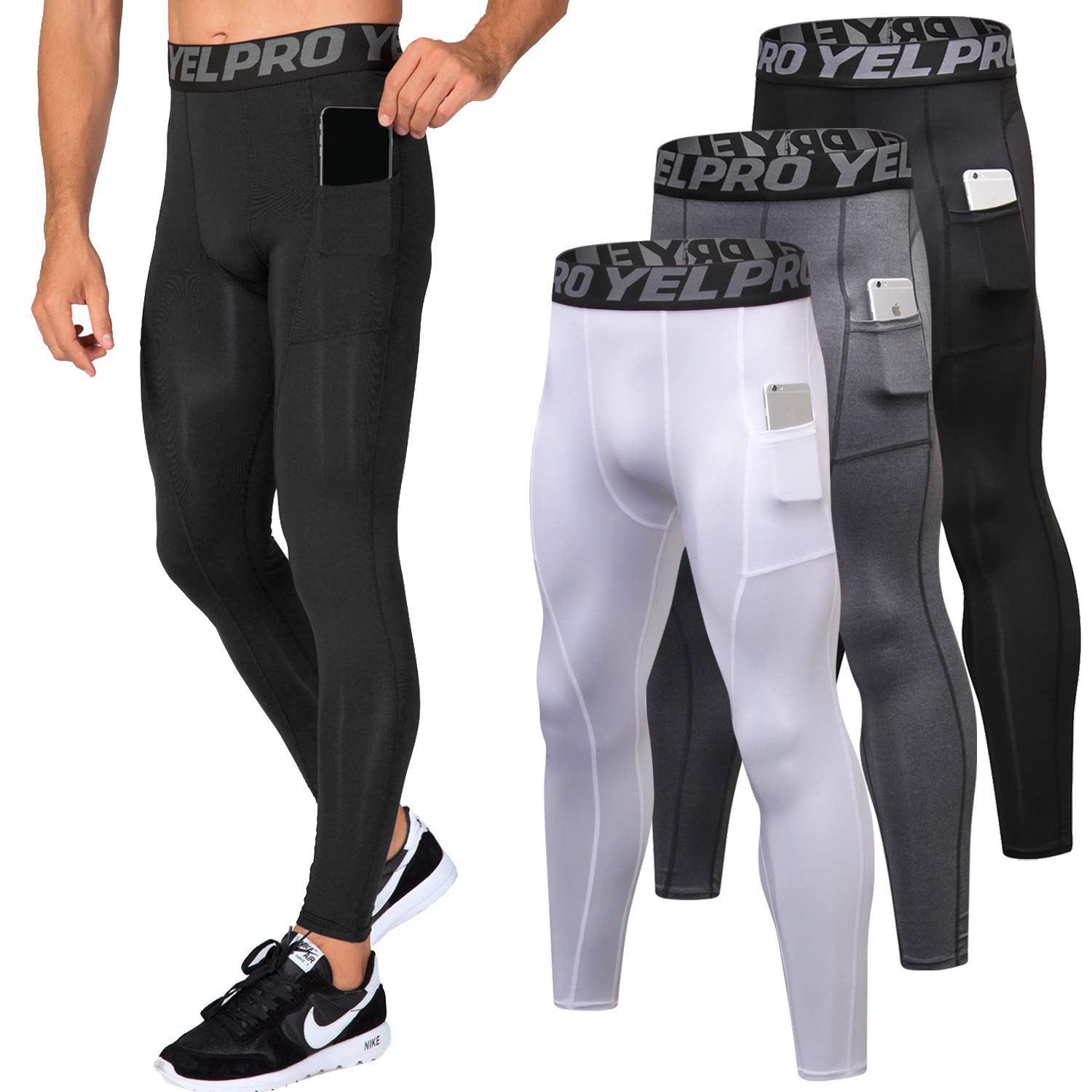 Lavento Men's Compression Pants Baselayer Cool Dry Pocket Running Ankle Leggings Active Tights (3 Pack-3911 Black/Gray/White,Small) by Lavento