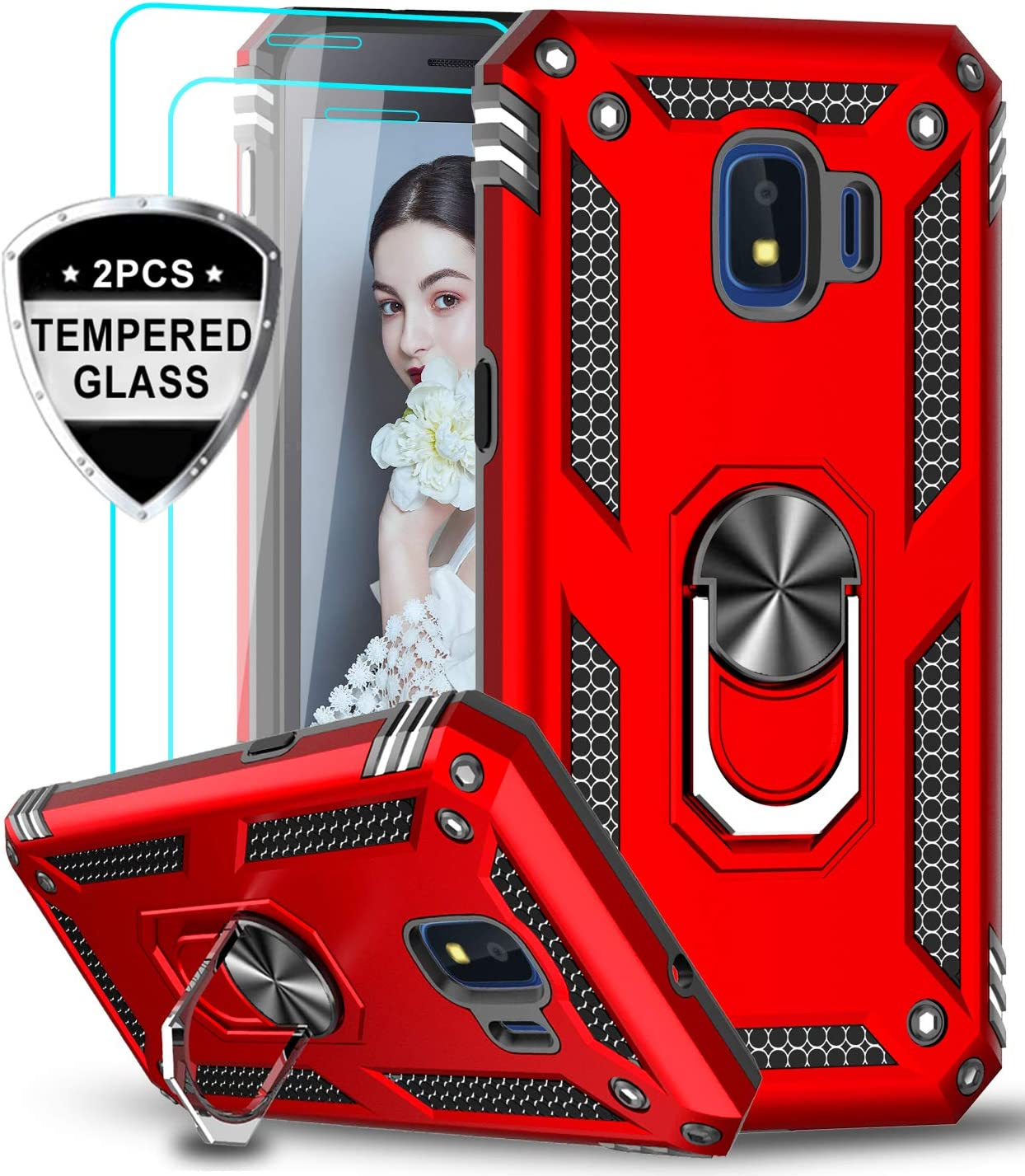 LeYi Samsung Galaxy J2 Core / J2 Pure / J2 Shine / J2 Dash Case with Tempered Glass Screen Protector [2 Pack], Military Grade Phone Case with Car Ring Kickstand for Samsung J2 Core / J2 2019, Red