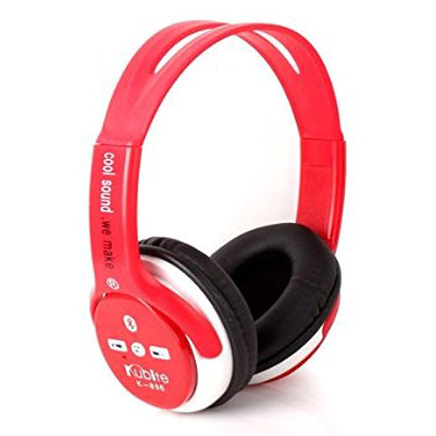 Wireless Bluetooth Headset Earphone Handsfree Call Over Ear Headphones Noise Cancelling Earpieces Bass Stereo Headphone with Mic Compatible with Smart Cell Phones iPad PC Red