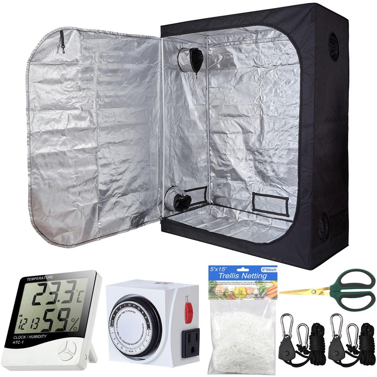 PrimeGarden 60''x32''x80'' Grow Tent Kit Indoor Plant Grow Tent Room + 24 Hour Timer + 60mm Bonsai Straight Scissors + Digital Hygrometer Thermometer + Trellis Nets +1 Pair of Rope Hangers