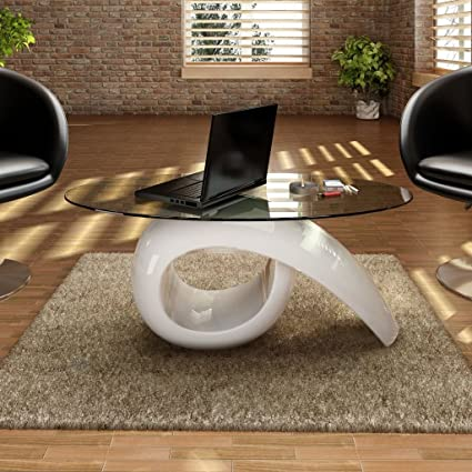 Amazoncom Festnight High Gloss Coffee Table Oval Tempered Glass