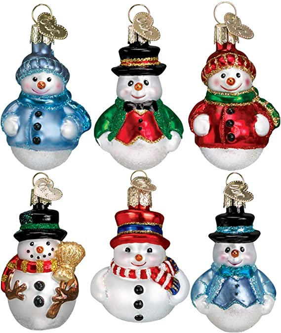 "Mini 8/"" Glass Christmas Tree w// 12 Snowman Ornaments by Ganz EX20538"