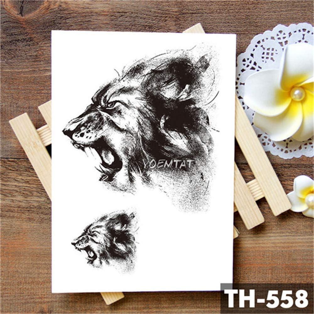 tzxdbh Tiger Skull Leopard Dragon Etiqueta engomada del Tatuaje ...