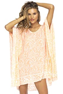 b88e8f9df809e Back From Bali Womens Short Beach Swimsuit Cover up Dress Caftan Poncho  Floral