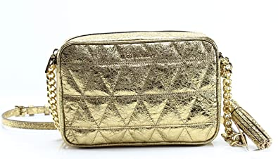 6d07fc618c991f Michael Kors Ginny Quilted Medium Leather Camera Bag Crossbody Pale Gold