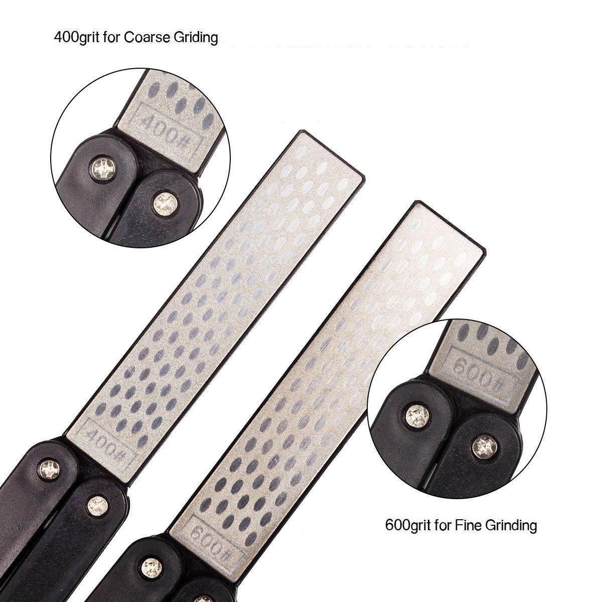 Afiladores de cuchillos, 400/600 Grit plegable piedra de afilar de diamantes de diamante, mano afilado de doble cara de piedra para acampar al aire ...