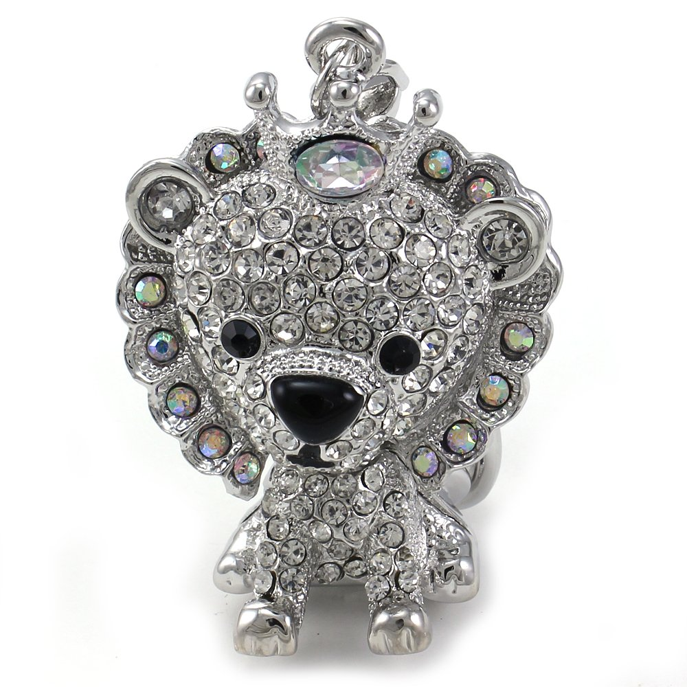 King Crown Cub Lion Keychain Animal Key Ring Charm Clear Rhinestone Gift for Mom