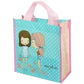 magasin en ligne cd7d1 c9622 Promobo - Sac Pour Courses Cabas Shopping Girly Mon Joli Sac Bleu Etoilé